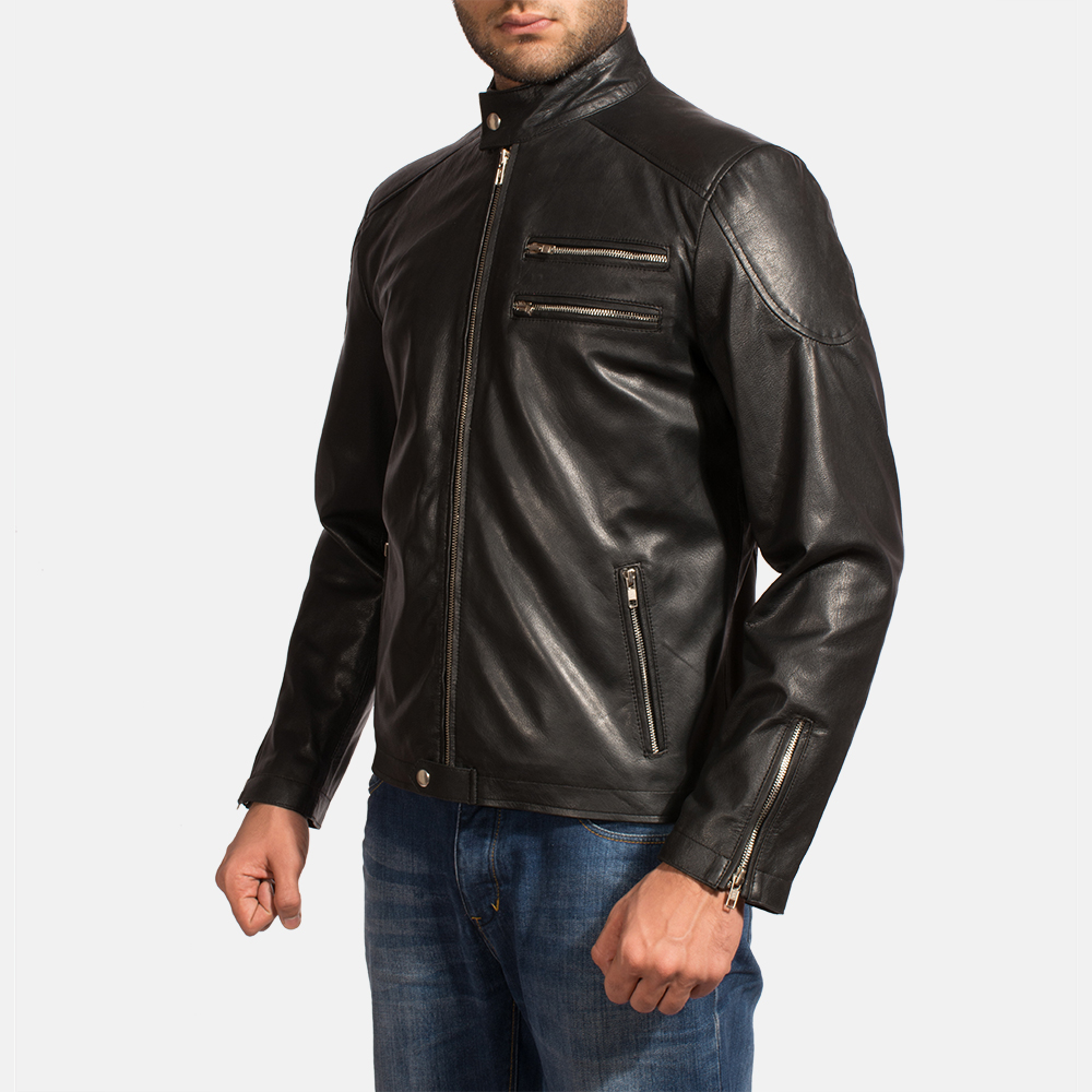 Mens Onyx Black Leather Biker Jacket 4