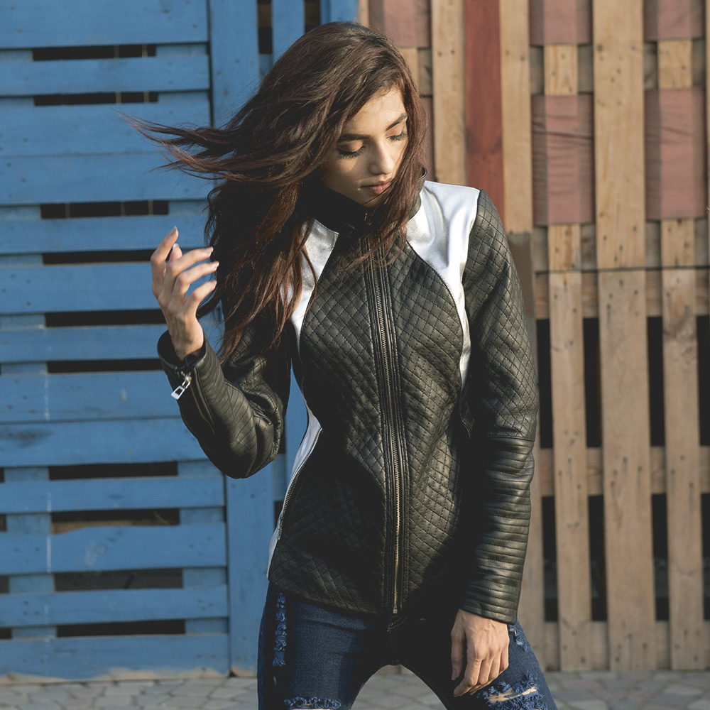 Womens Alia Metallic Black Leather Biker Jacket 6