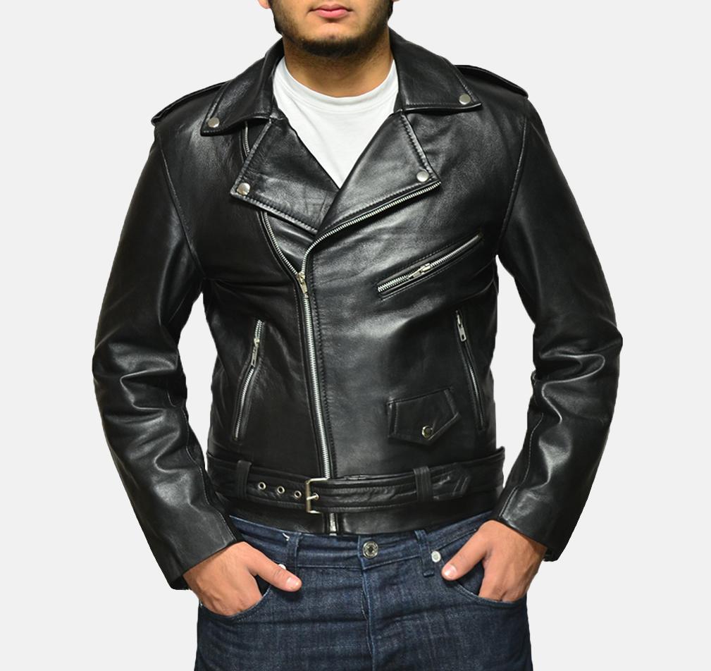 Mens Allaric Alley Black Leather Biker Jacket 1 791b36b759f