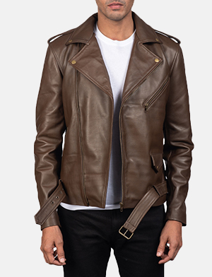 Mens Allaric Alley Mocha Leather Biker Jacket