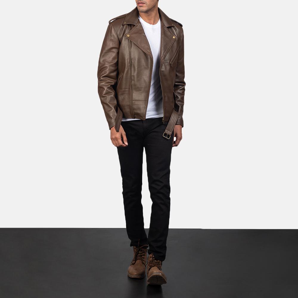 Mens Allaric Alley Mocha Leather Biker Jacket 6