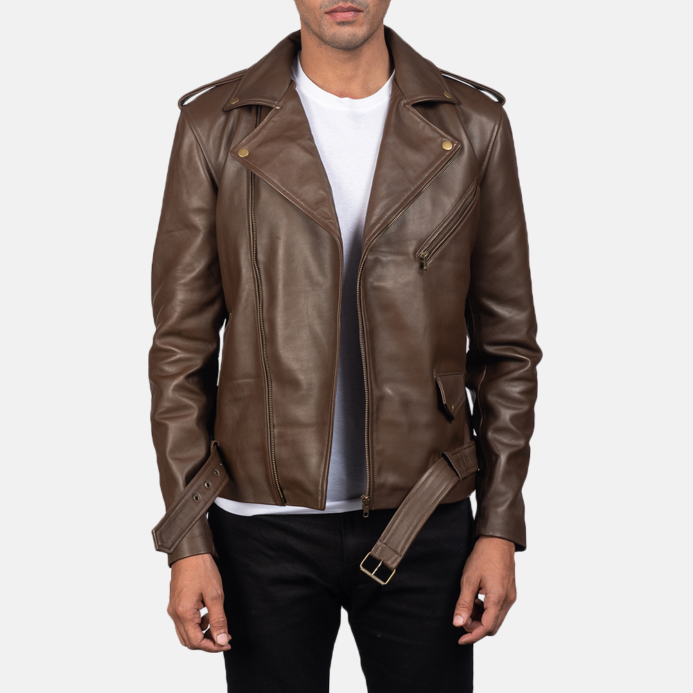 Mens Allaric Alley Mocha Leather Biker Jacket 1