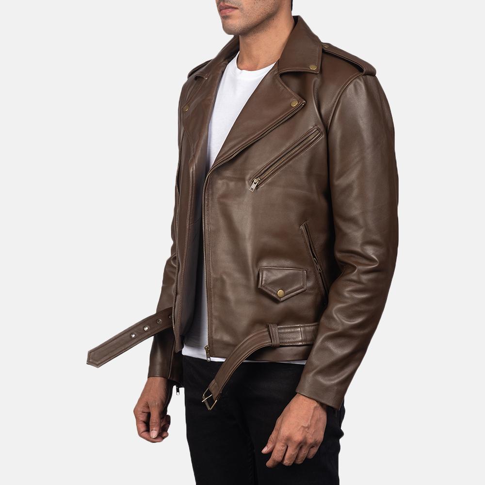 Mens Allaric Alley Mocha Leather Biker Jacket 2