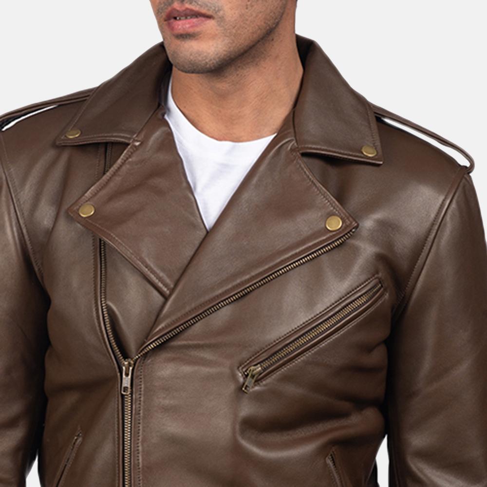 Mens Allaric Alley Mocha Leather Biker Jacket 4