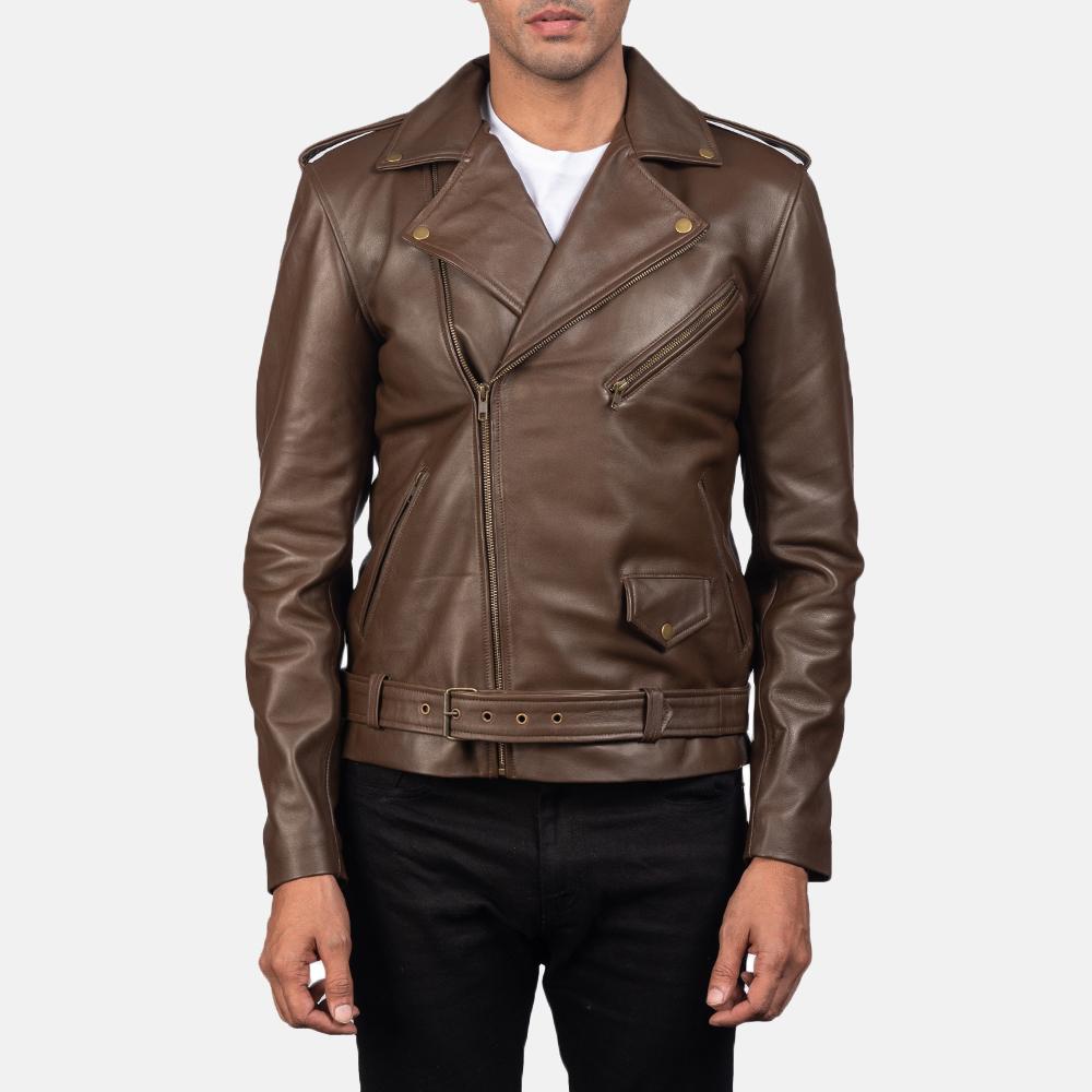 Mens Allaric Alley Mocha Leather Biker Jacket 5
