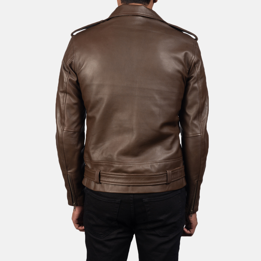 Mens Allaric Alley Mocha Leather Biker Jacket 3