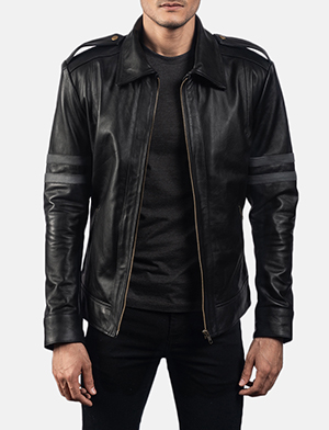 Mens Armstrong Black Leather Biker Jacket