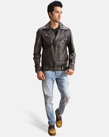Oliver Basic Buckled Leather Biker Jacket 1