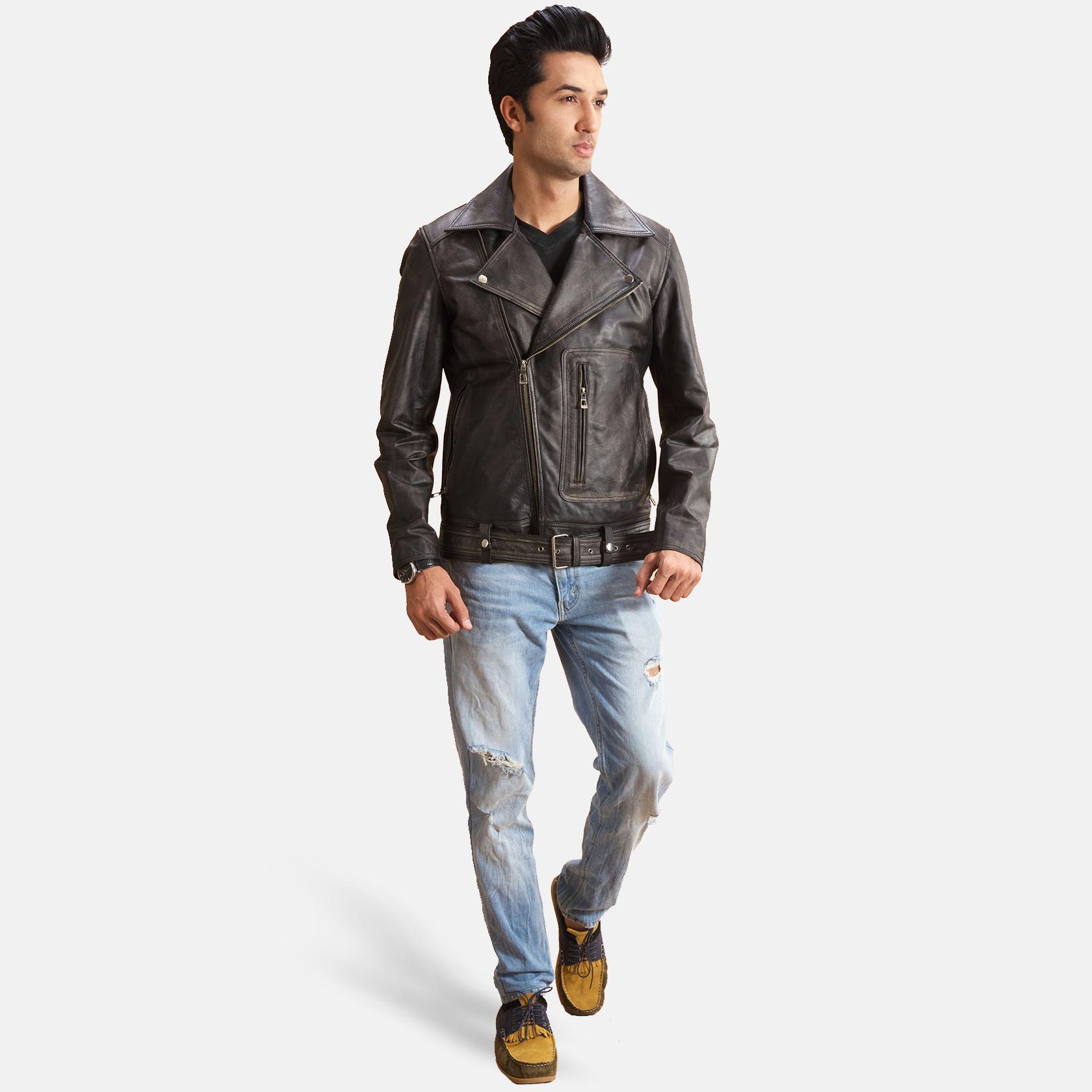 Oliver Basic Buckled Leather Biker Jacket 2