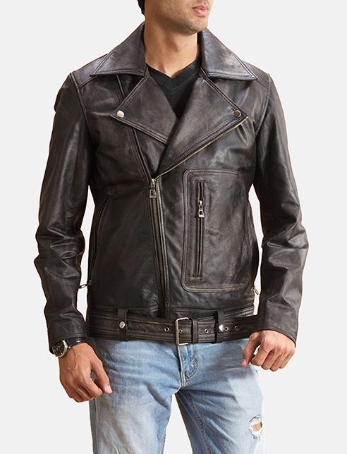 Oliver Basic Buckled Leather Biker Jacket