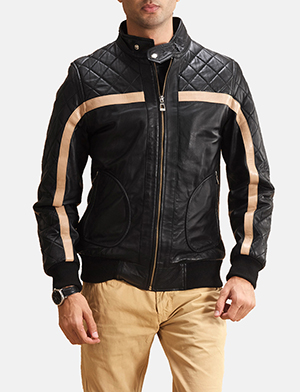 Mens Danson  Black Leather Bomber Jacket