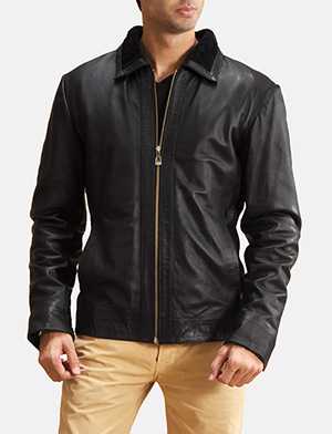 Black basic collar leather jacket for men 1491401259156