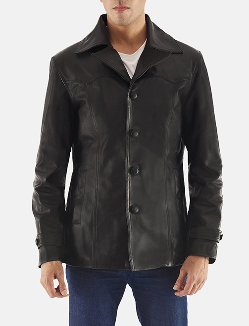 Leo Black Leather Coat