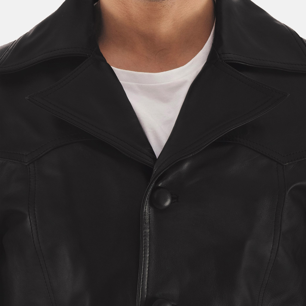 Leo Black Leather Coat 5