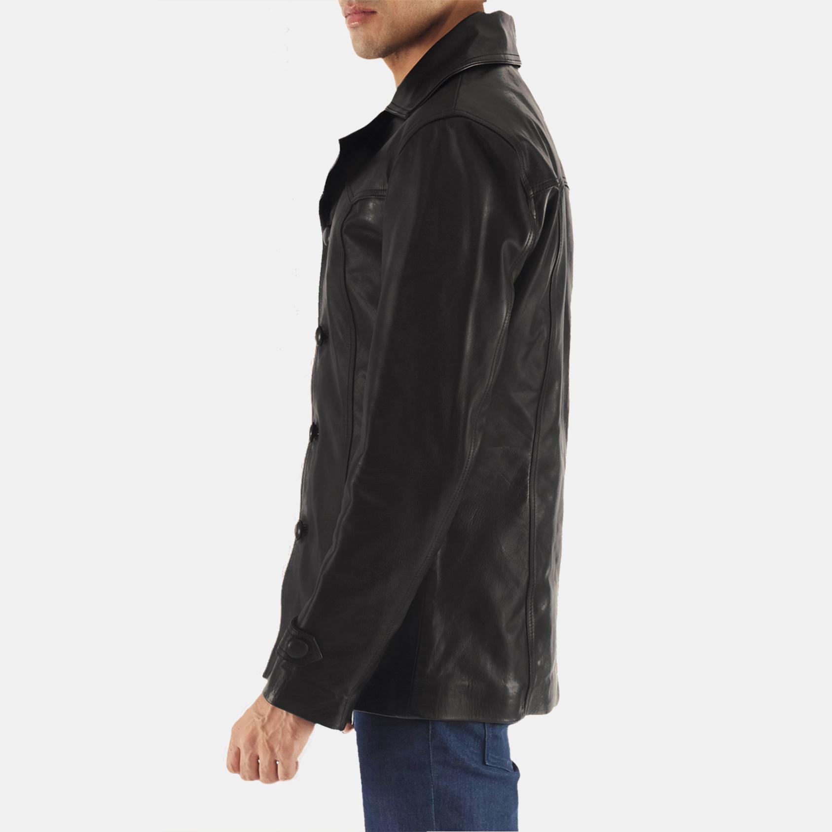 Leo Black Leather Coat 6