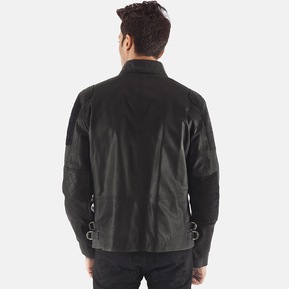 Mens Marlon Black Leather Biker Jacket 4
