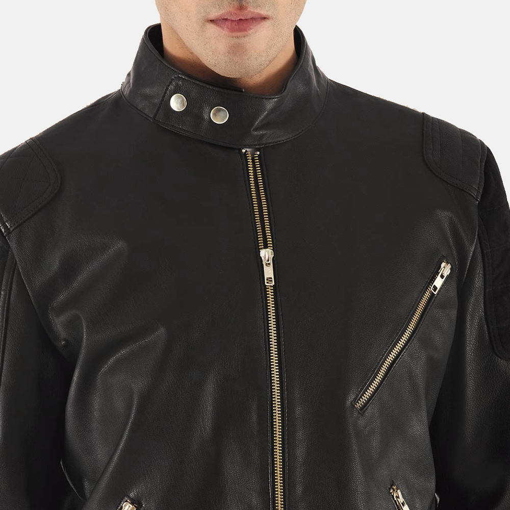 Mens Marlon Black Leather Biker Jacket 5