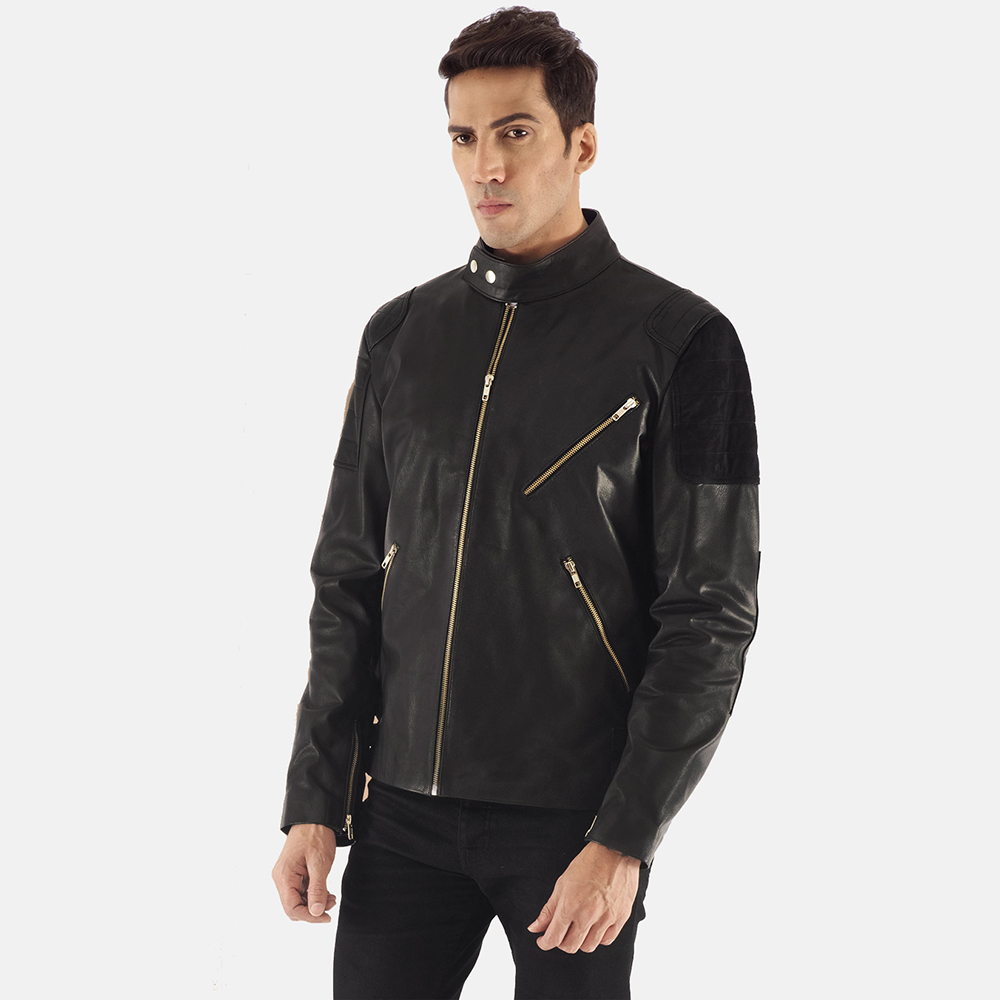 Mens Marlon Black Leather Biker Jacket 3