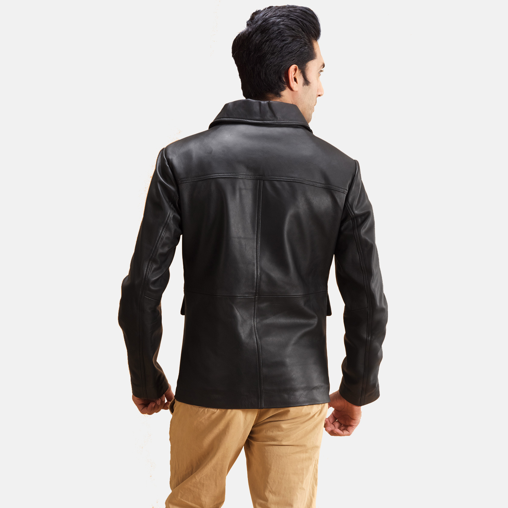 Mens Raven Black Leather Jacket 4