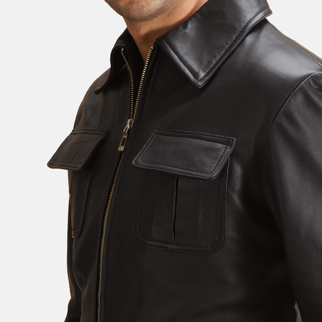 Mens Raven Black Leather Jacket 6