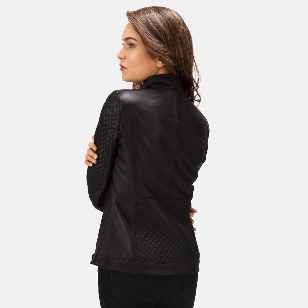 Womens Orient Grain Quilted Black Leather Biker Jacket 4