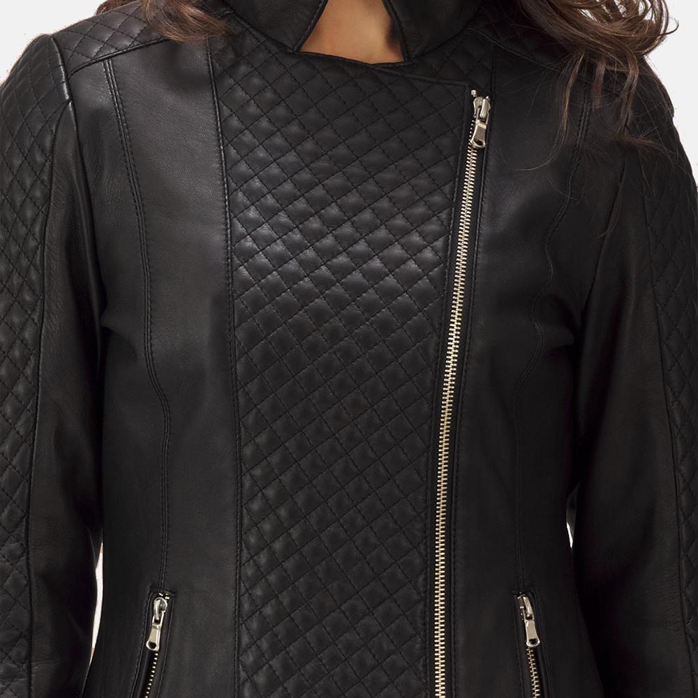 69916462d8b03 Womens Orient Grain Quilted Black Leather Biker Jacket 5