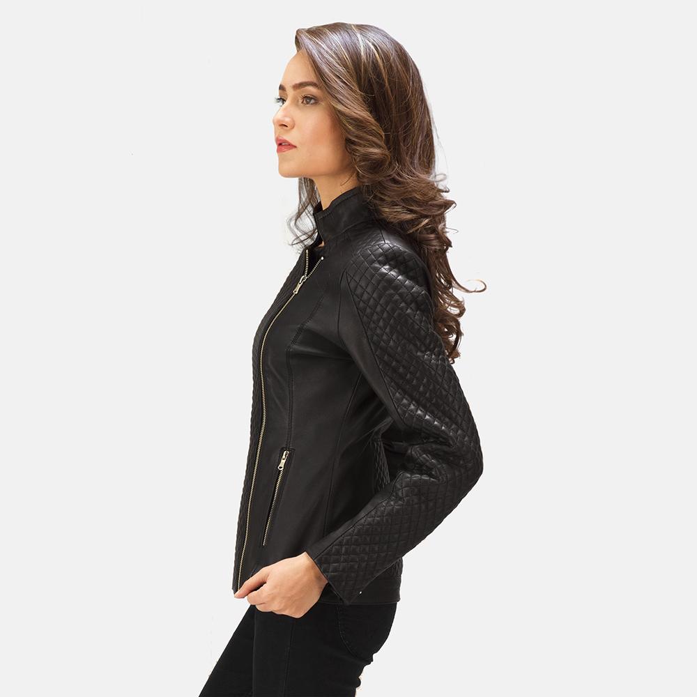 Womens Orient Grain Quilted Black Leather Biker Jacket 6