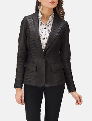 Selina Black Leather Blazer