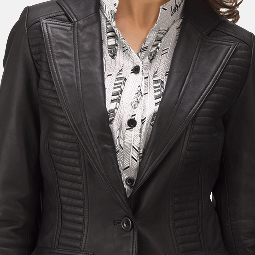 Womens Selina Black Leather Blazer 5
