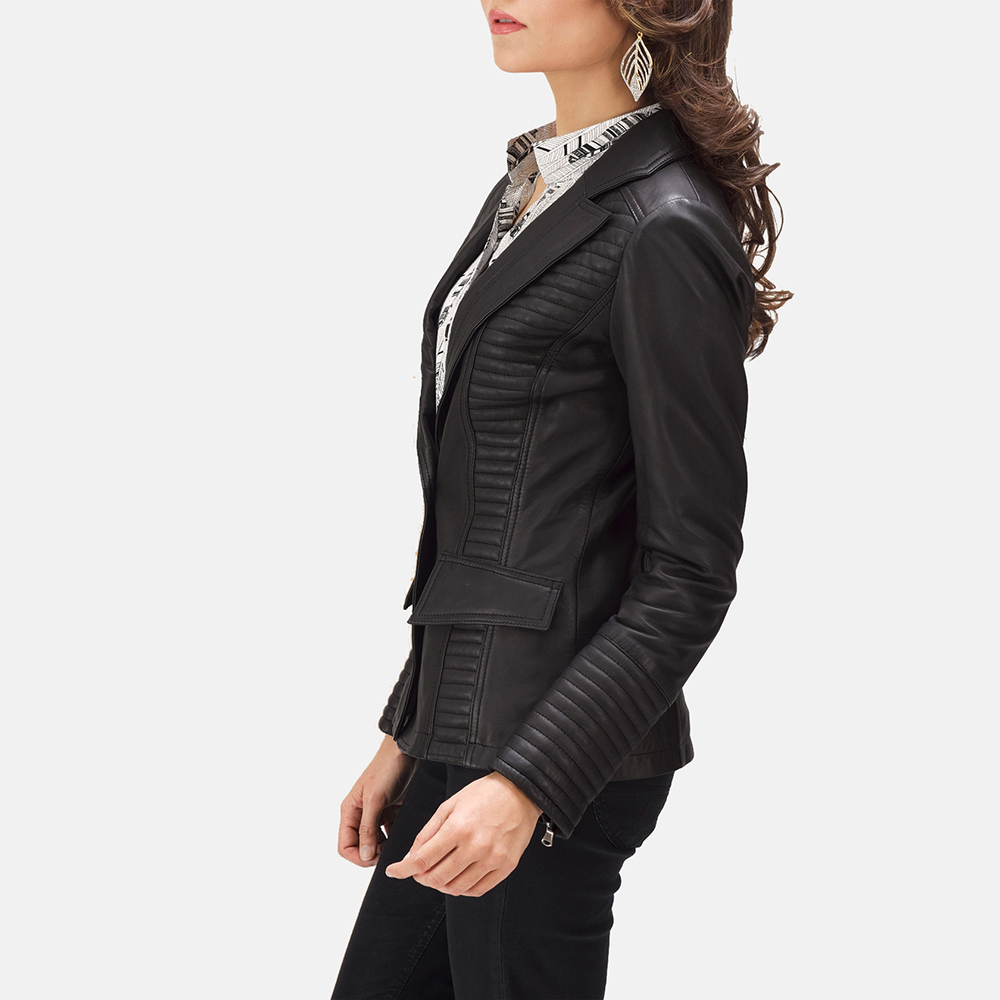 Womens Selina Black Leather Blazer 2