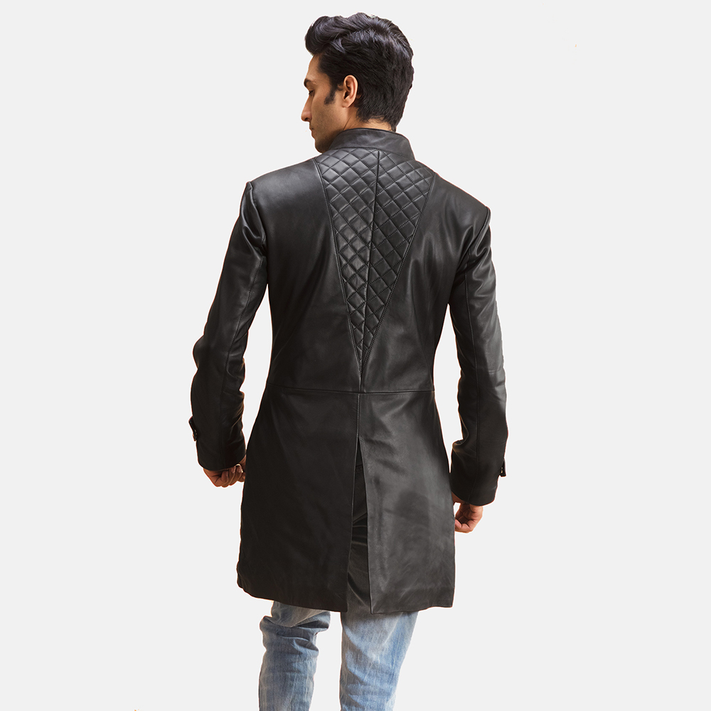 Mens Midlander Quilted Black Leather Coat 3