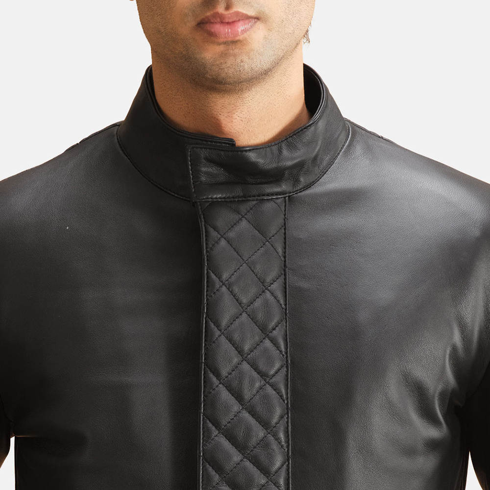 Mens Midlander Quilted Black Leather Coat 5