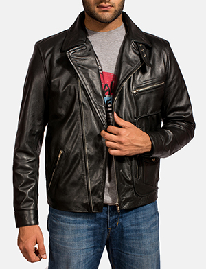 Black rocker leather biker jacket for men 1491999769305