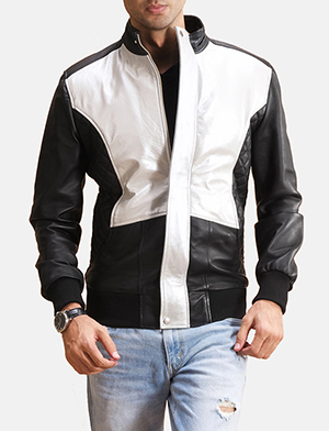 Mens Spade Silver Black Leather Bomber Jacket
