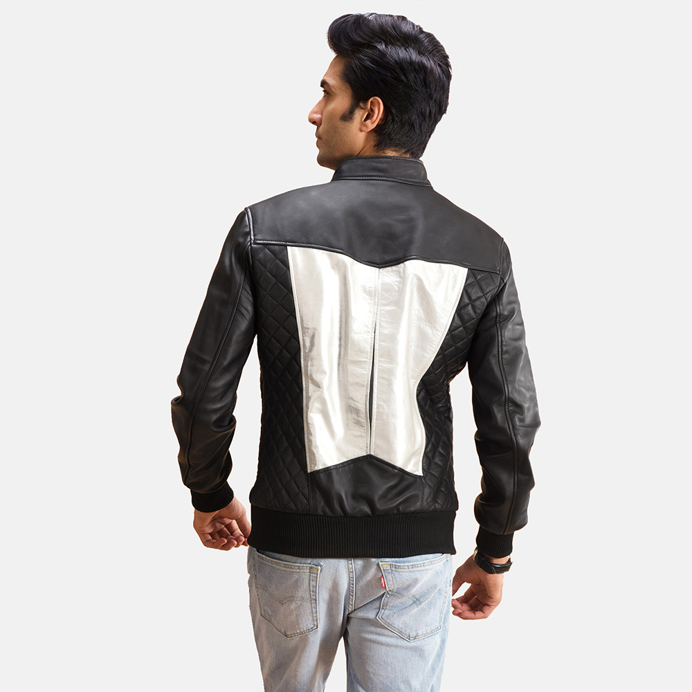 Mens Spade Silver Black Leather Bomber Jacket 3