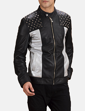 Mens Shapron Studded Leather Biker Jacket