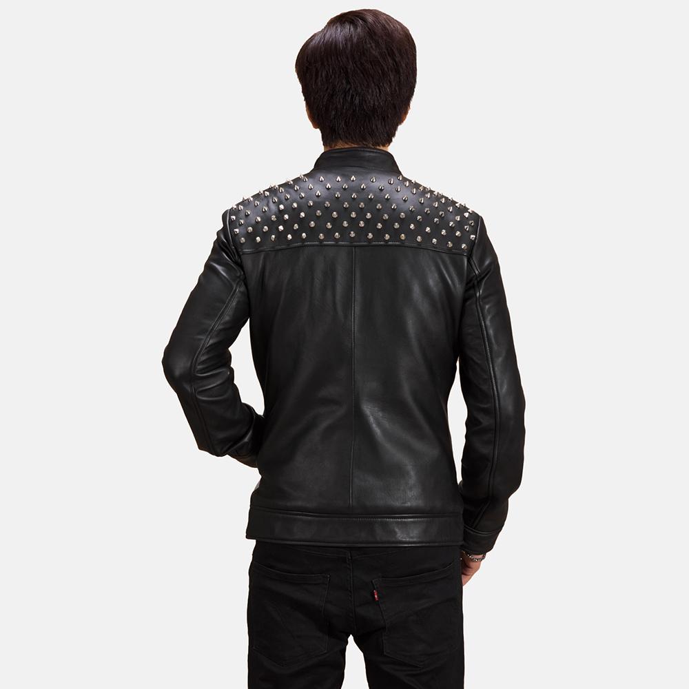 Mens Shapron Studded Leather Biker Jacket 3