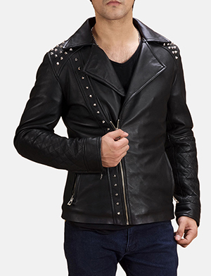 Black studded double rider jacket zoom 2 1491403359203