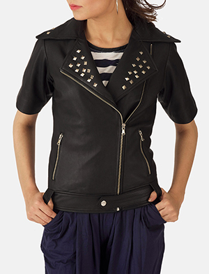 Womens Starlet Black Leather Biker Jacket