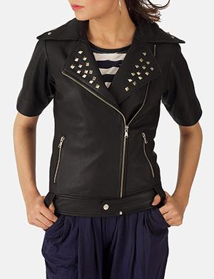 Womens Starlet Black Leather Biker Jacket