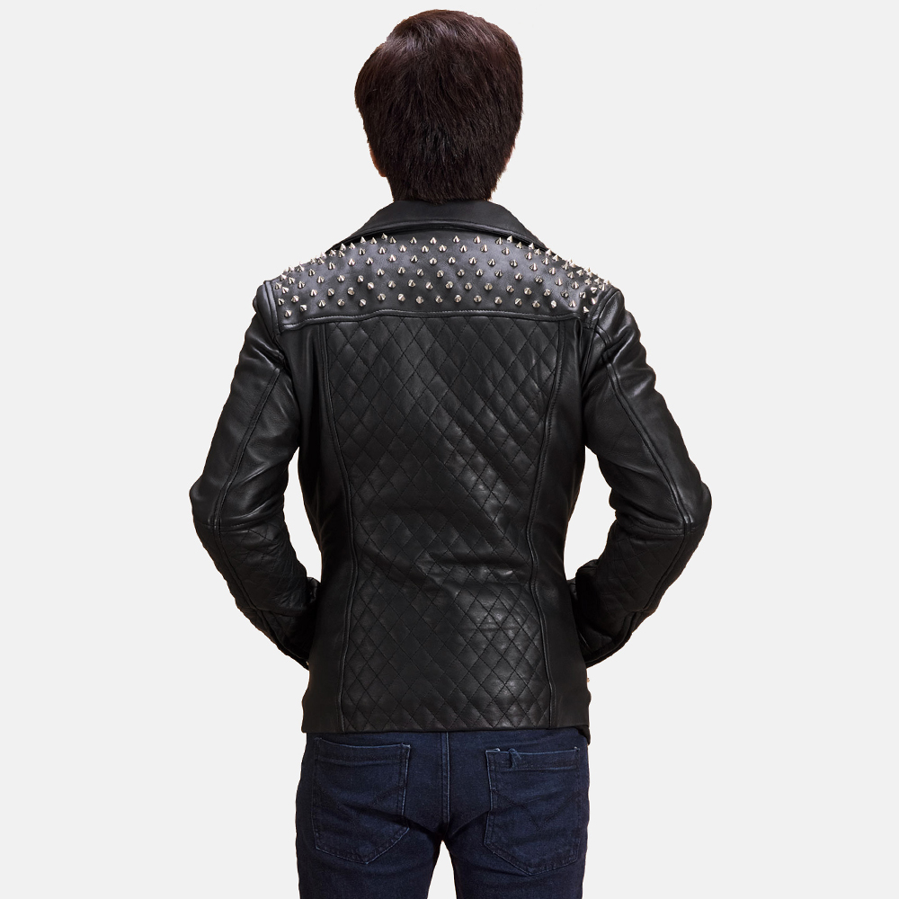 Mens Black Studded Leather Biker Jacket 4