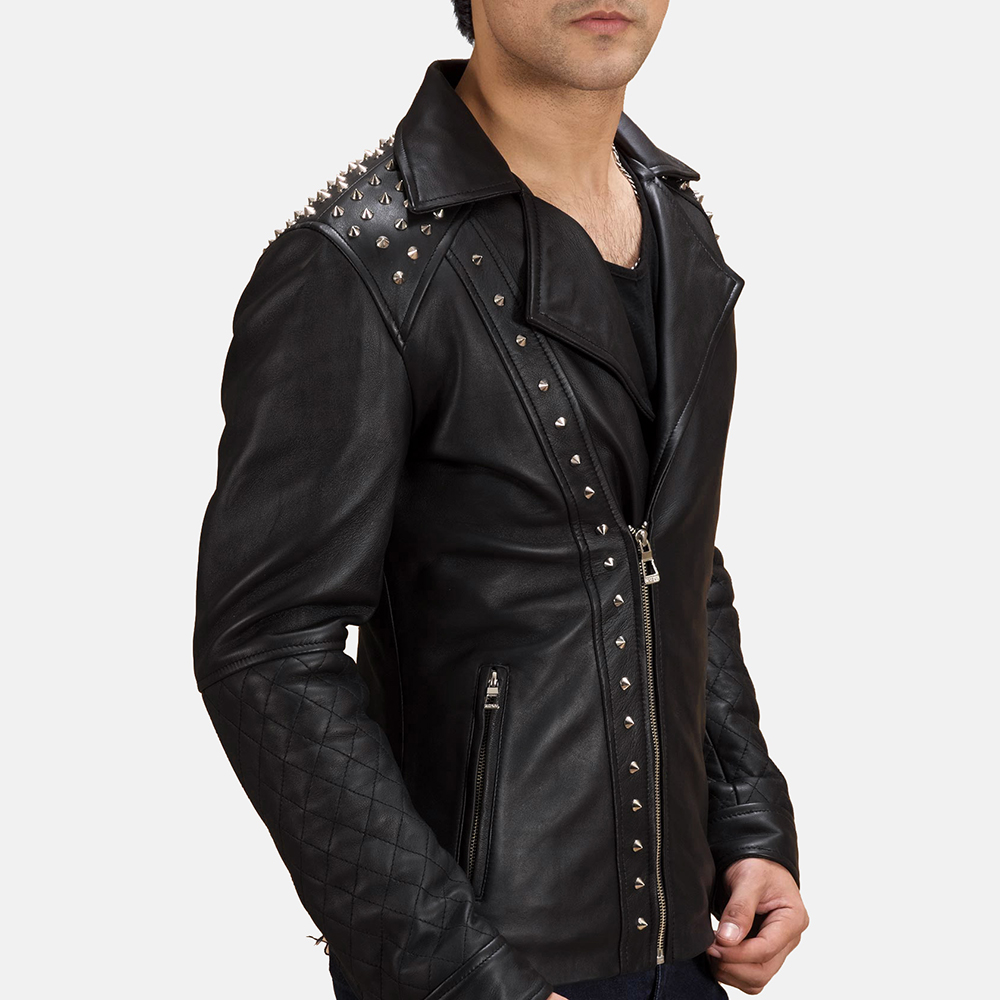 Mens Black Studded Leather Biker Jacket 3