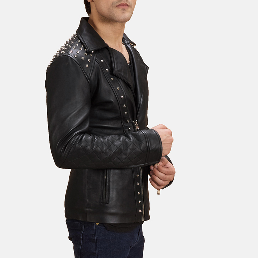 Mens Black Studded Leather Biker Jacket 6