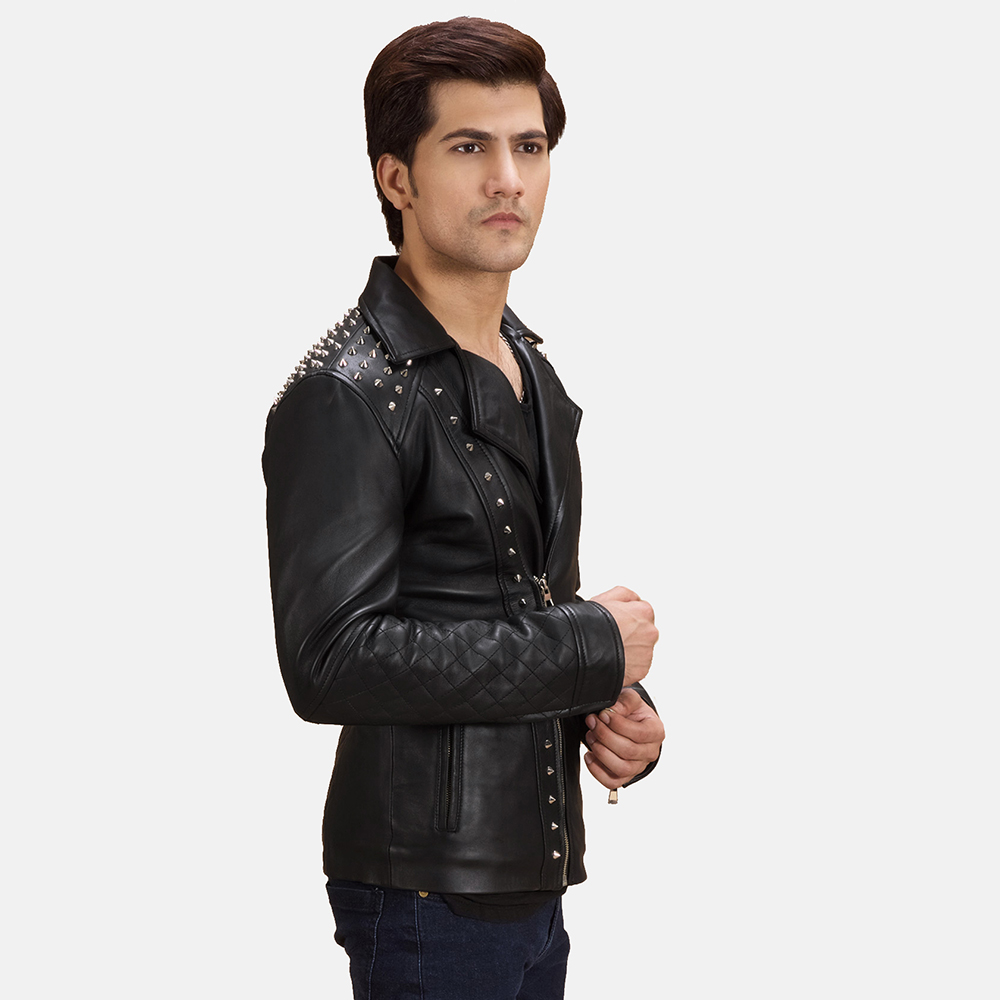 Mens Black Studded Leather Biker Jacket 6