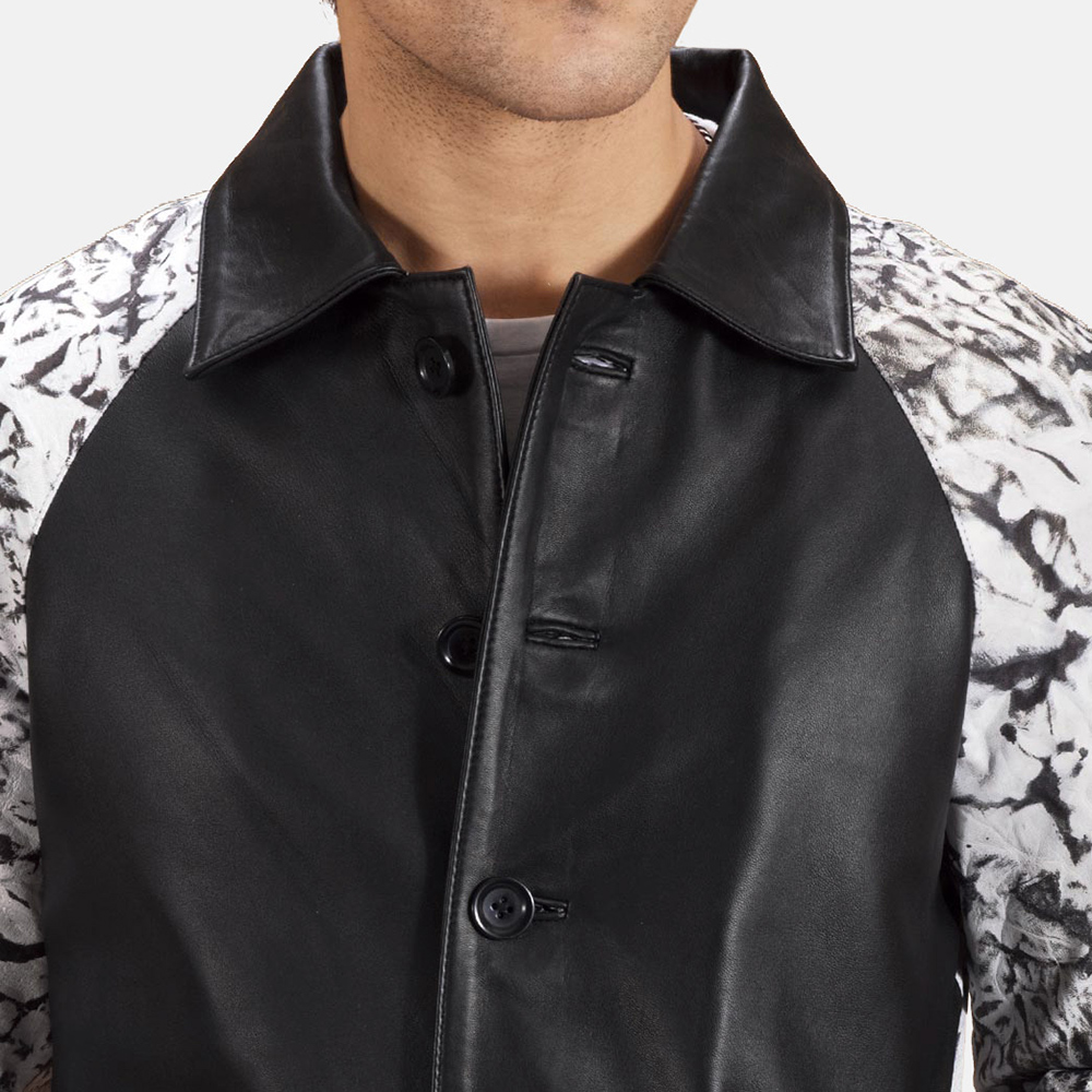 Mens Artistry Black Dye Leather Coat 3