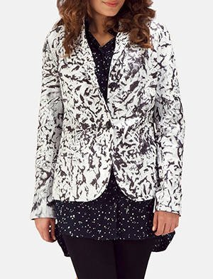 Womens Donna Blake White Leather Blazer