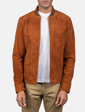 Men's Blain Brown Suede Bomber Jacket