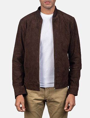 Men's Blain Mocha Brown Suede Bomber Jacket