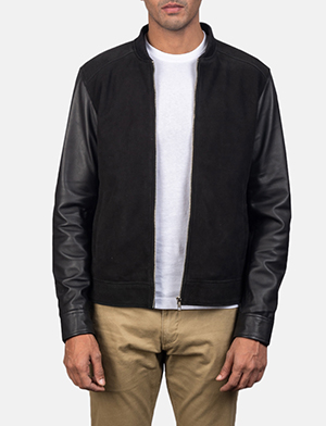 Blain black hybrid bomber jacket for men 2509 1550655635396