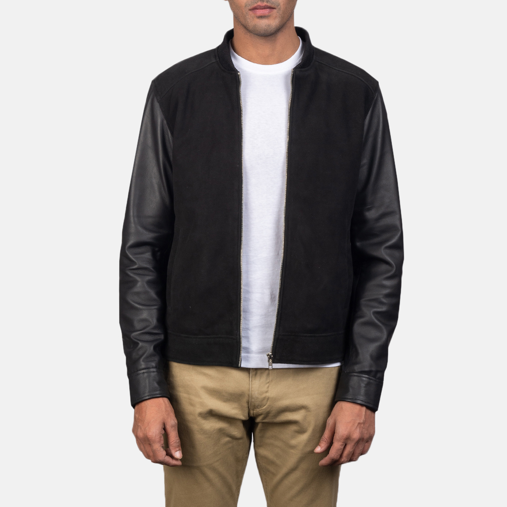 Men's Blain Black Hybrid Bomber Jacket 2